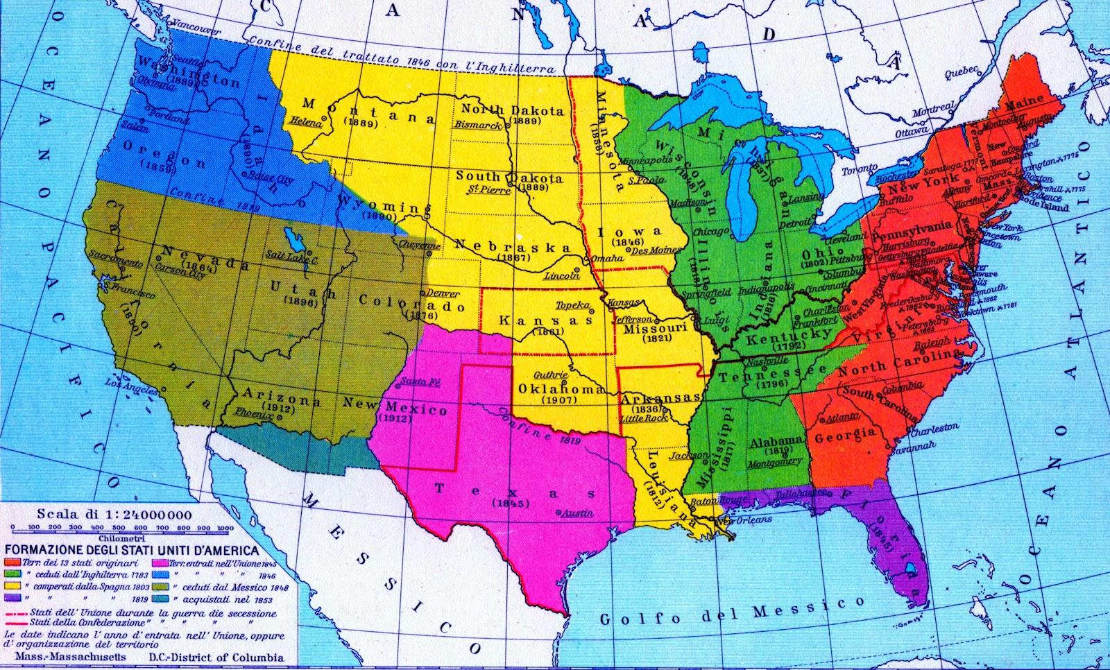 Cartina Stati Uniti D America Politica.Stati Uniti D America Mappa Politica