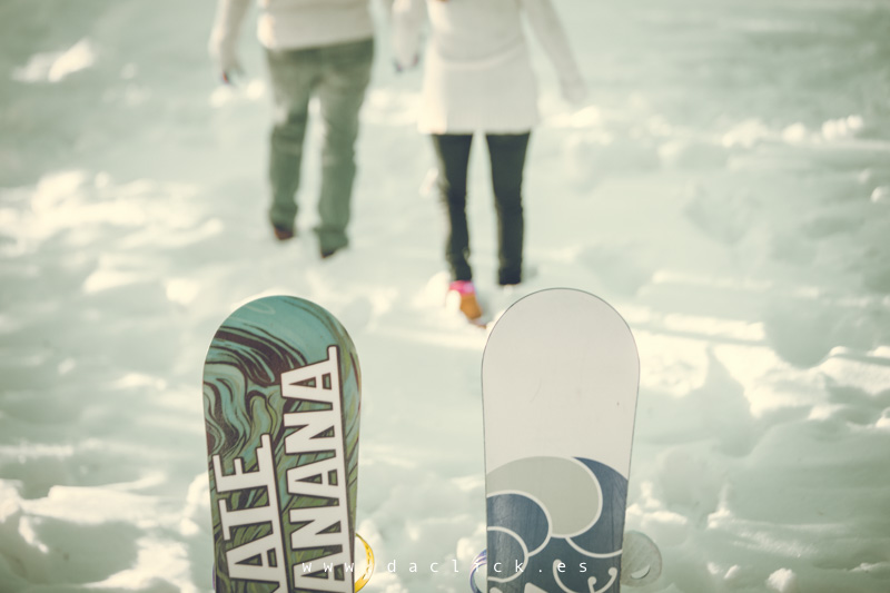 fotografos Preboda SnowBoard Nieve pareja