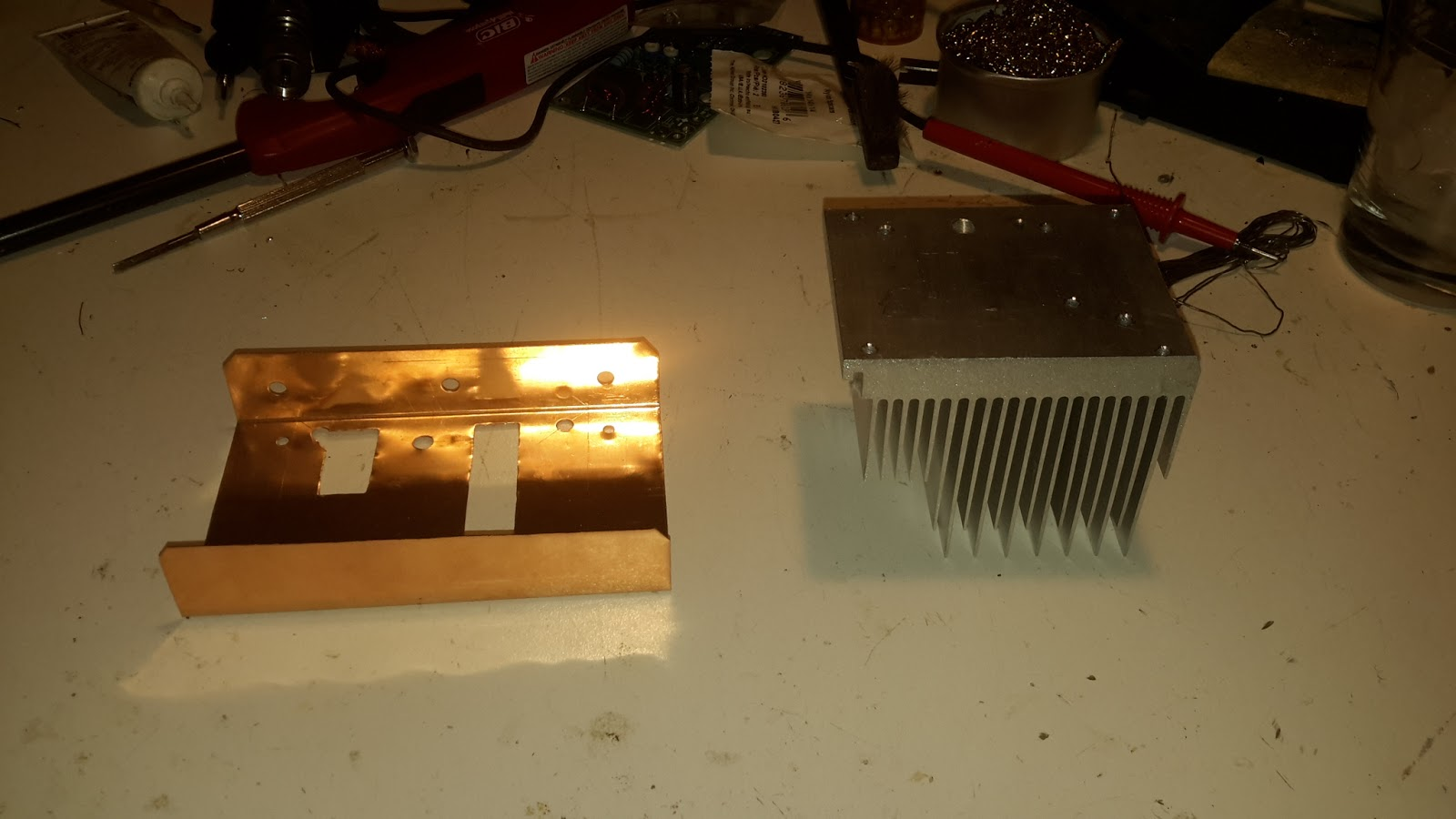 Steves Eclectic Radio Blog 2016 Lm380 Single National Forms Simple Amplifier With Tone And Some Pics Of The Heat Sink Bracket That Ill Be Using During Testing Came From A Junk Pc Is Bent 26 Gauge Copper