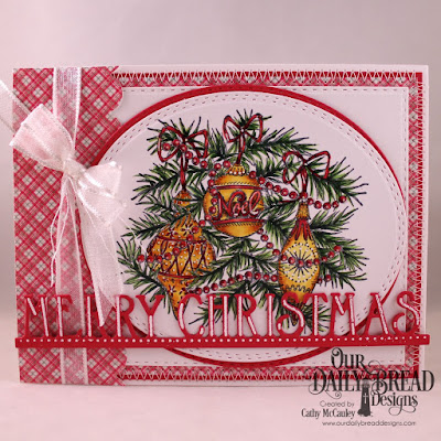 Our Daily Bread Designs Stamp Set: Noel Ornaments, Paper Collection: Holly Jolly, Custom Dies: Merry Christmas Border, Gift Bag Handles & Toppers, Double Stitched Rectangles, Oval Stitched Rows