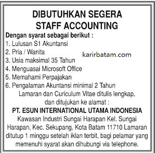 Lowongan Kerja PT. Esun International Utama Indonesia