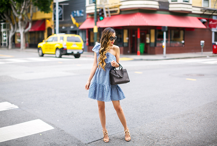 minkpink Wanderer One Shoulder Dress, gingham one shoulder dress, saint laurent sac de jour bag, prada sunglasses, baublebar crispin drops, jeffrey campbell wedges, spring outfit ideas, san francisco fashion blog, san francisco street style