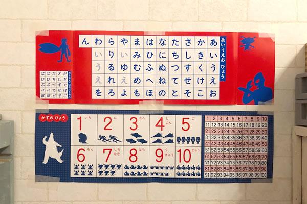 表紙カバーの裏は、あいうえお表と数字の表