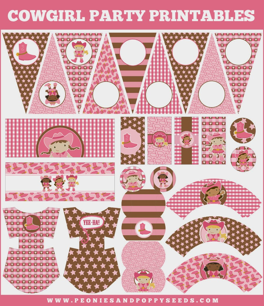 cowgirl free printable kit oh my fiesta in english. Black Bedroom Furniture Sets. Home Design Ideas