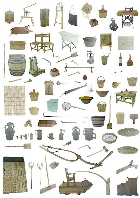 utiles, aperos, objetos, artefactos, secano, museo, coleccion, etnologia