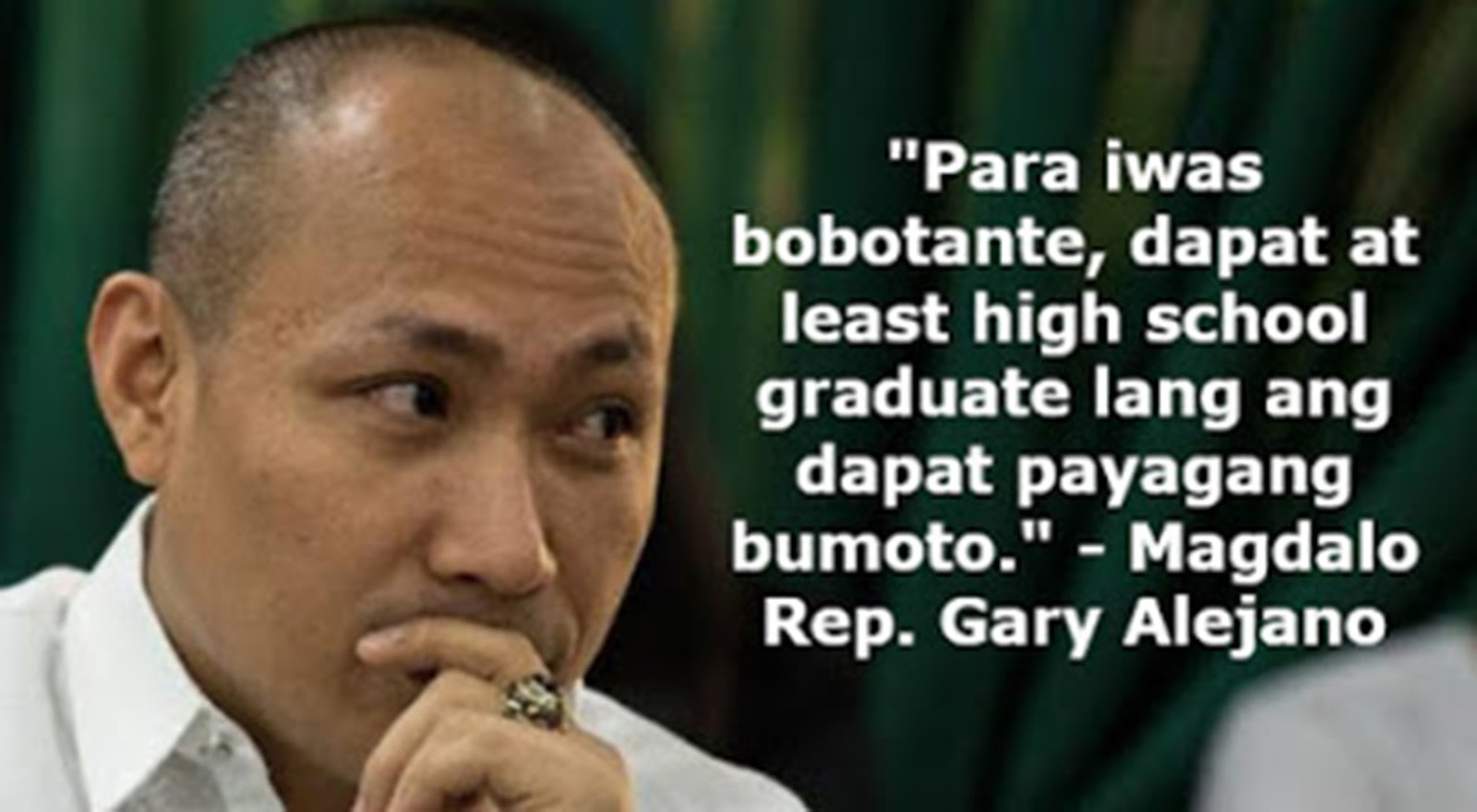 Alejano Proposes High School Graduate Requirement for Election Voters