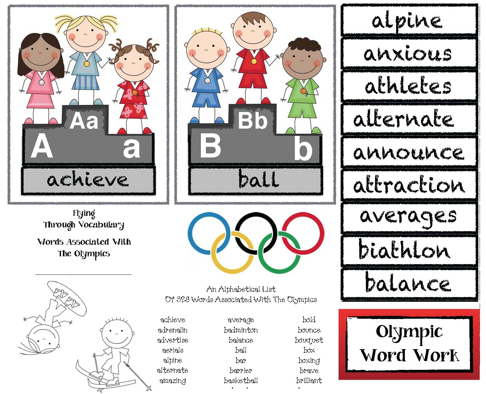 Winter Olympics Alphabet Cards Amp Building Vocabulary Word