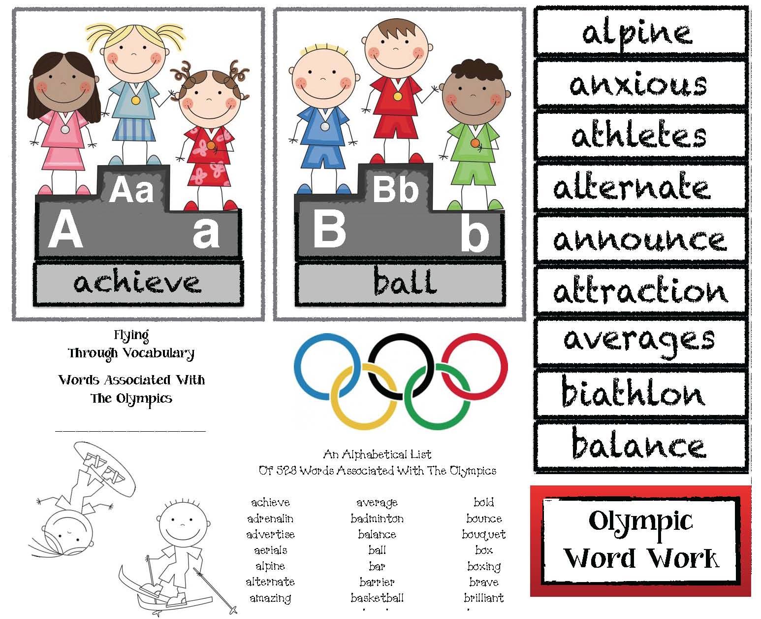 Winter Olympics Alphabet Cards Amp Building Vocabulary Word