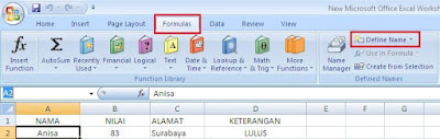 kolom dengan nama cell bawaan dari aktivitas tersebut Cara Merubah Nama Cell di Excel 2007