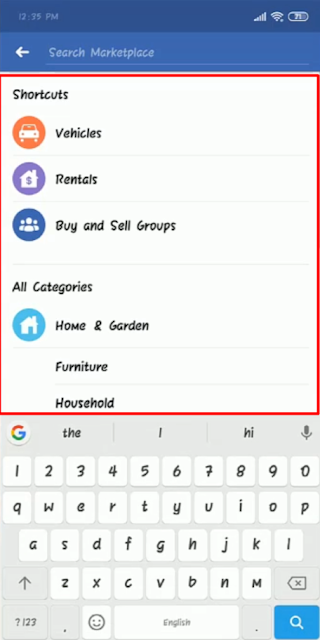 Facebook Marketplace Categories  - Android
