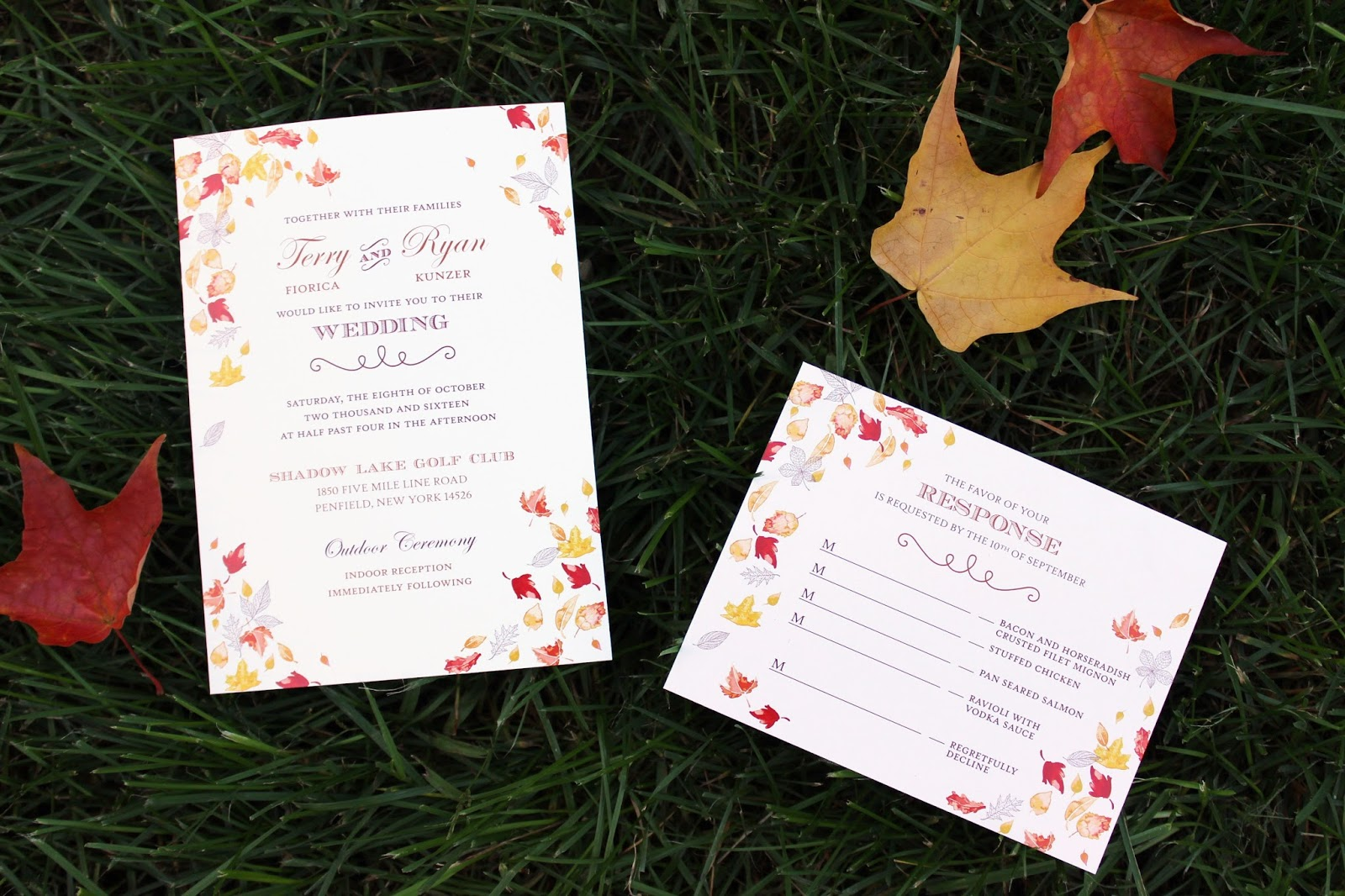 Sohl Design: Autumn Leaves Wedding Invitation Set