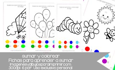 Colorear y sumar. Fichas para aprender en pdf