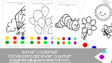 Colorear y sumar Fichas para aprender a sumar