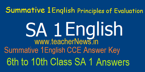 AP Summative 1/  SA 1 English Answers/ Key Sheet 6th, 7th, 8th, 9th, 10th Class Summative 1 Principles of Evaluation
