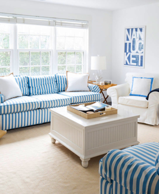 Fresh Blue and White Stripes Sofa Idea