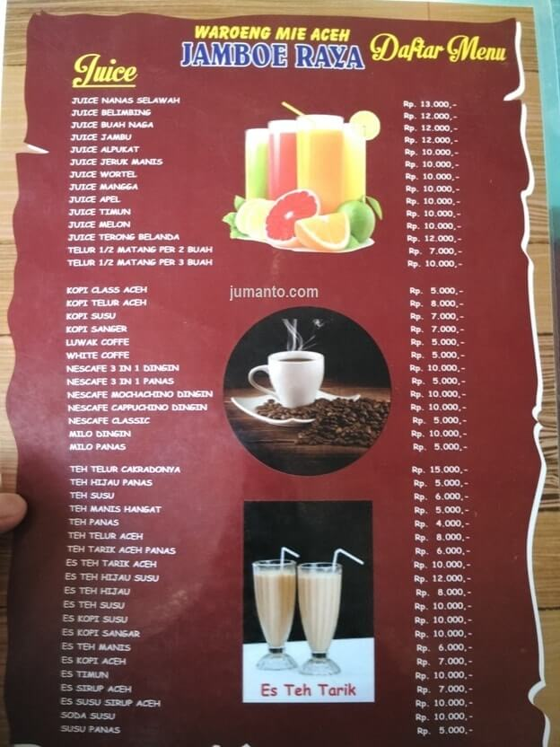 daftar menu minuman di mie aceh jamboe raya lampung