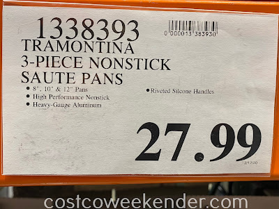 Costco 1338393 - Deal for the Tramontina 3-piece Nonstick Saute Pans at Costco
