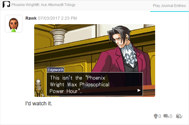 Phoenix Wright Ace Attorney Justice For All Miles Edgeworth wax philosophical power hour