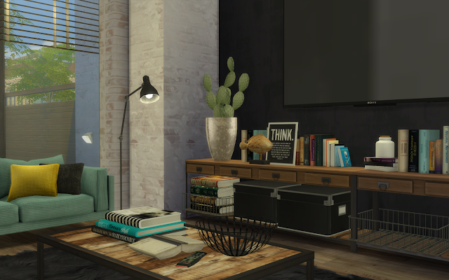 salon décoration loft sims 4
