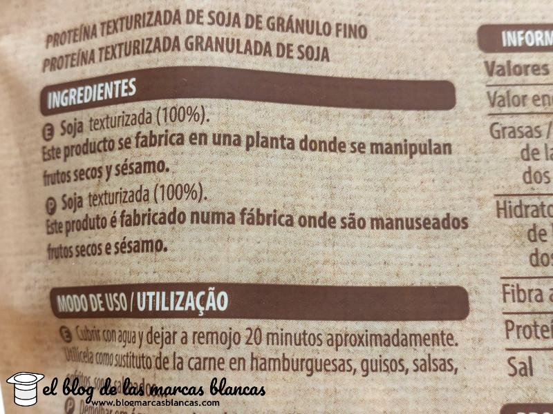 Ingredientes de la proteína de soja texturizada de grano fino Hacendado de Mercadona en el blog de las marcas blancas.