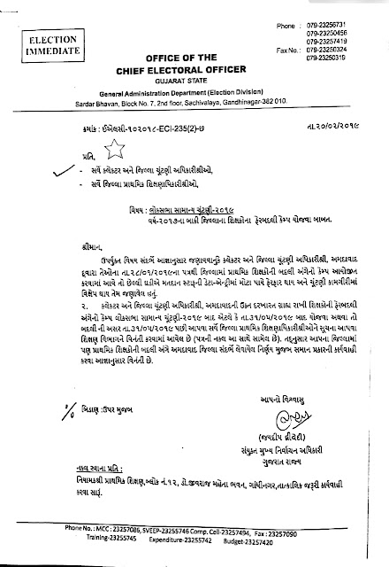 SHIKSHAK BADLI CAMP 31.05.2019 (LOKSABHA ELECTION) BAD YOJVA BABAT CHIEF ELECTORAL OFFICER SHREE NO LETTER | DATE : 20.02.2019