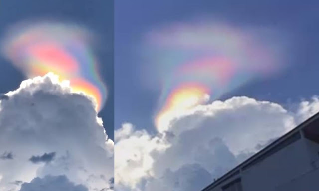 Incredible multi-colored light formed 'out of nowhere ...