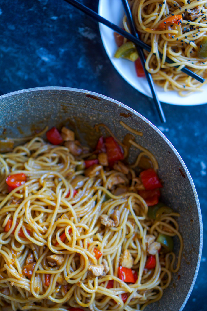 sweet and sour spicy noodles recipe  hungry for goodies