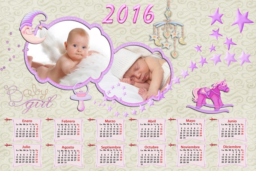 Dibujos Para Photoshop: Calendarios Para Photoshop: Calendario Del 2016 De Bebés
