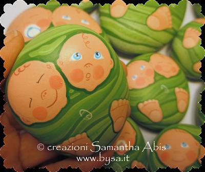 Bomboniere originali battesimo bimbi gemelli  dipinte a mano listino  prezzi
