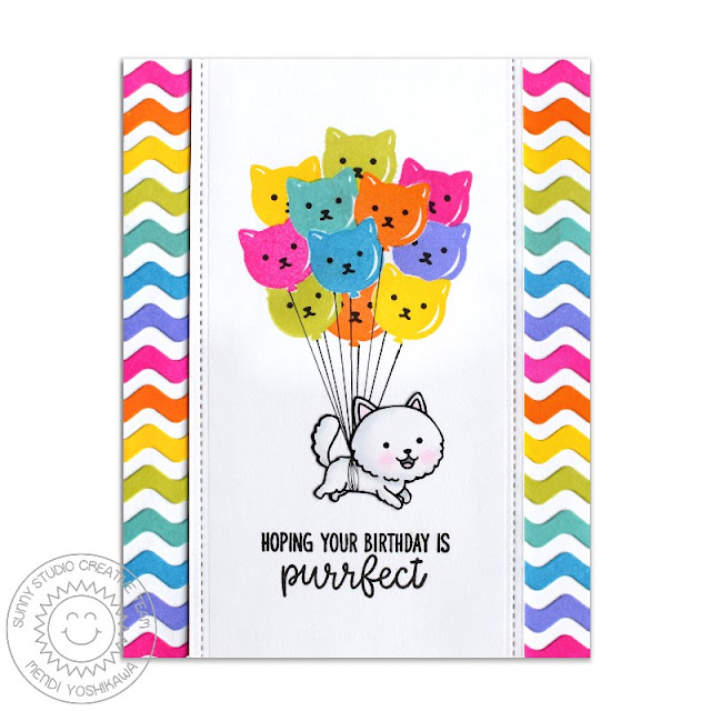 Sunny Studio Stamps: Purrfect Birthday, Fancy Frames & Ric Rac Border Rainbow Cat Balloon Card by Mendi Yoshikawa