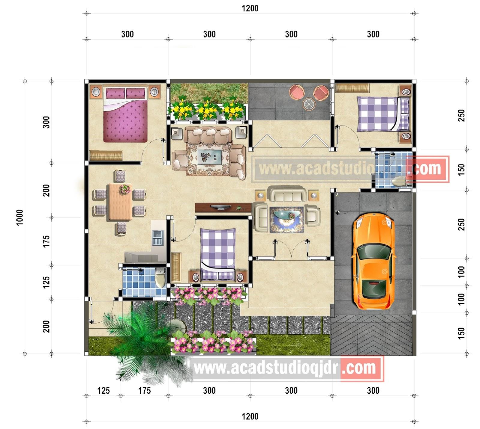 Desain Denah Rumah Mbak Yulie Tipe 95 M2 Jasa Desain Rumah