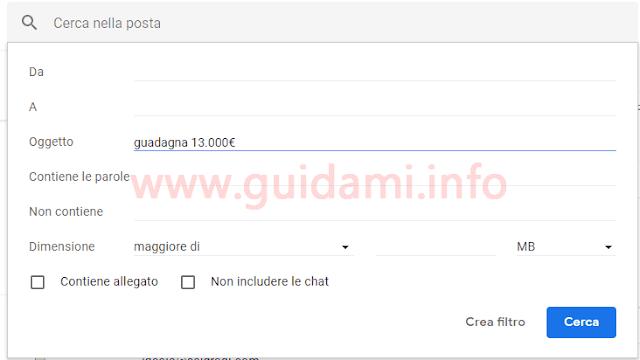 Gmail impostazioni creazione filtri