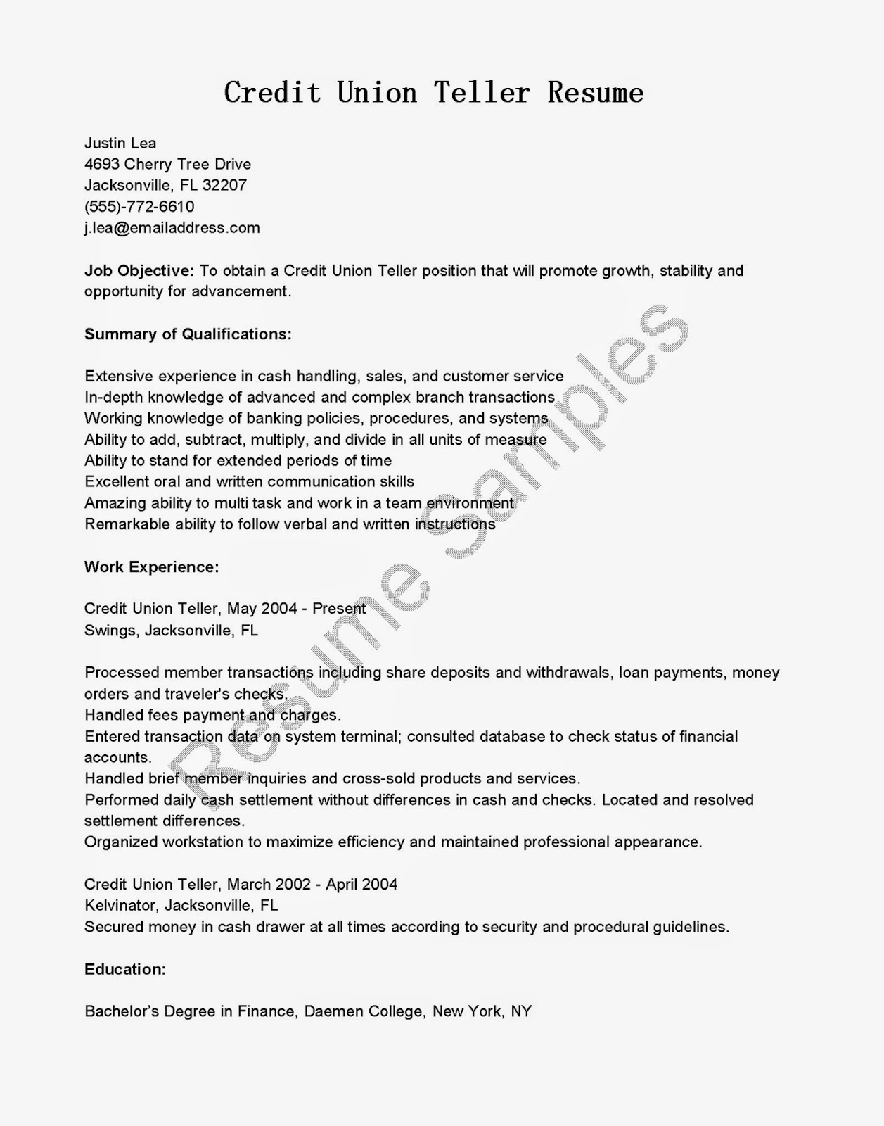 resume samples  credit union teller resume sample