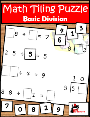 Free division tiling puzzle for your math center from Raki's Rad Resources.