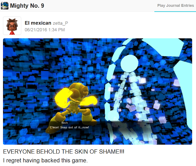 Mighty No. 9 backers reward gold suit skin Beck regret Kickstarter fail