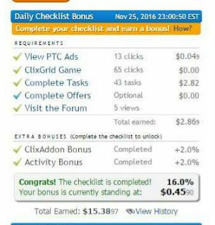 IMG 20161207 213622 4 cara mudah untuk menyelesaikan bonus checklist harian ClixSense