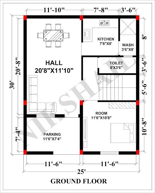 25X30 House Plan With 3d Elevation 750 SQFT House By Nikshail