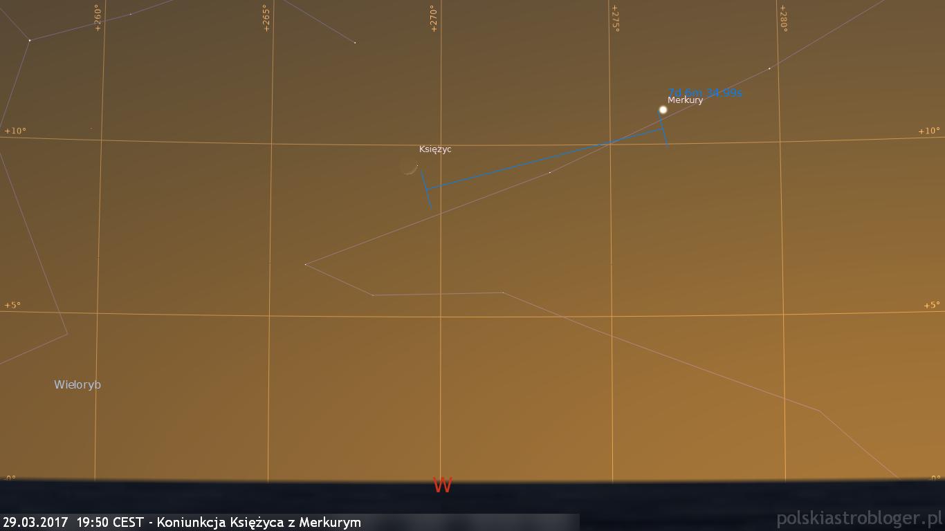 29.03.2017  19:50 CEST - Koniunkcja Księżyca z Merkurym