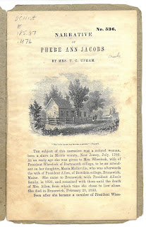 First page of the Narrative of Phebe Ann Jacobs by Mrs T. C. Upham