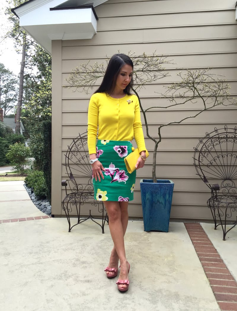 Spring floral outfit - standing further away.