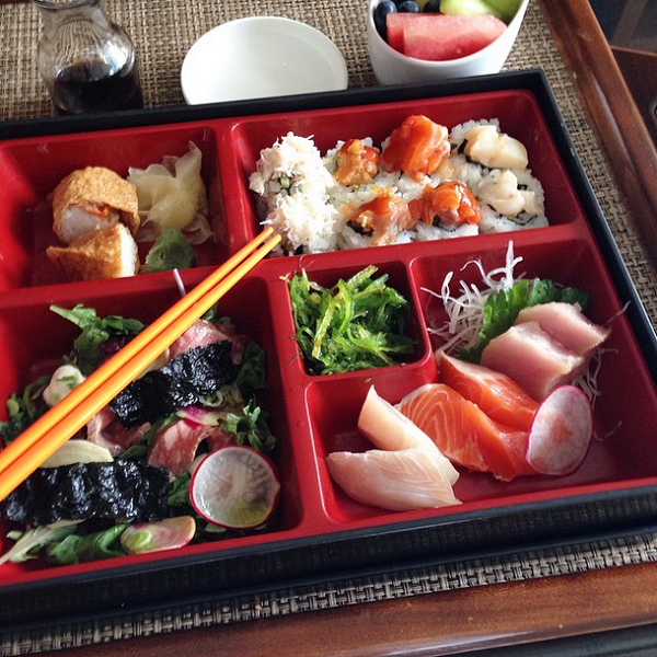 Sushi bento box at the Willow Stream Spa, Fairmont Pacific Rim