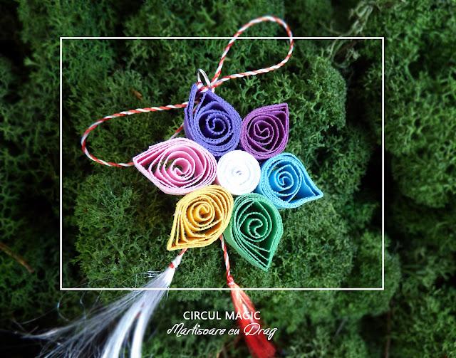 Circul Magic - Martisoare Quilling 2017 -  Floare de Cires Curcubeu