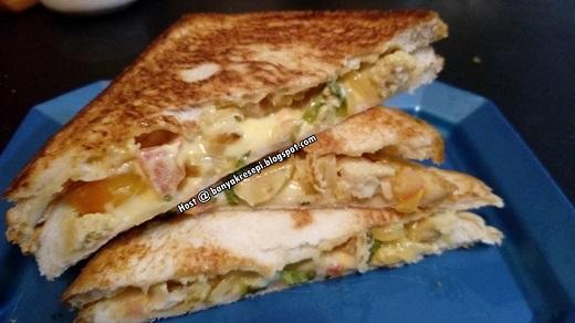 Resepi Grill Salad Cheese Sandwich banyakresepi.blogspot.my