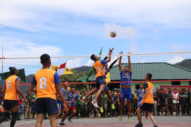 Turnamen Voli Dandim Cup 1714 di Puncak Jaya Berlangsung Semarak