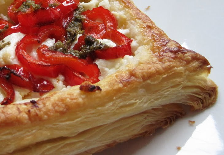 Goats Cheese and Red Pepper Pastries
