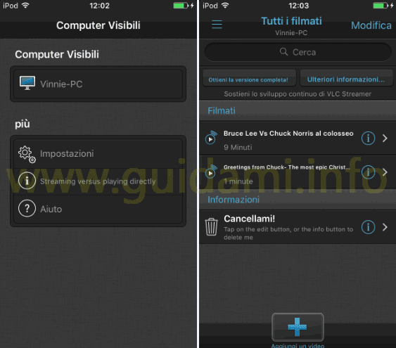 VLC Streamer Free app Android e iPhone