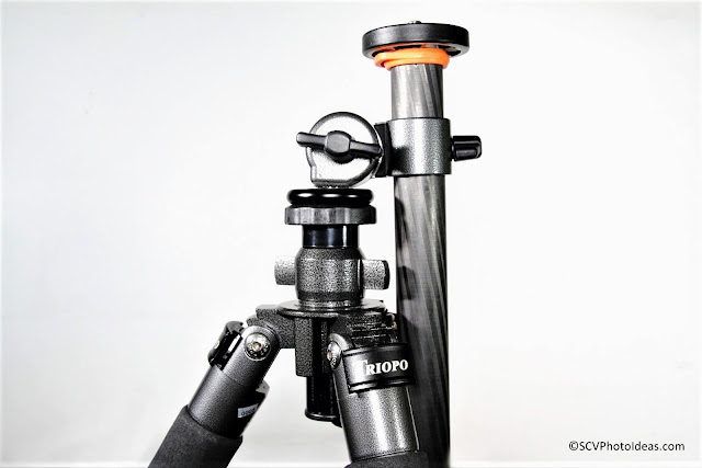 W8 articulated bracket w/ long CF column mounted on tripod