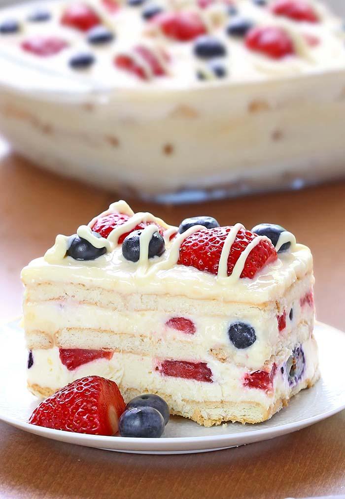★★★★★ 232 Ratings : No Bake Summber Berry IceBox Cake #Easy #simplirecipe #Instantpot #Bangbang #Shrimp #Pasta #vegan #Vegetables #Vegetablessoup #Easydinner #Healthydinner #Dessert #Choco #Keto #Cookies #Cherry