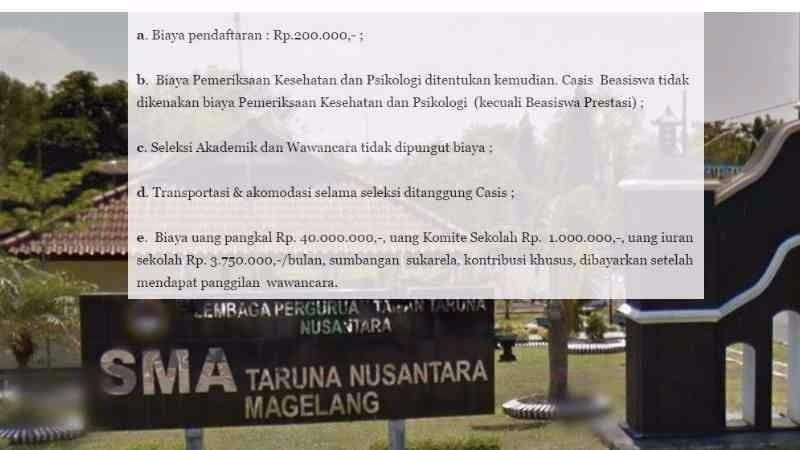Biaya pendaftaran masuk SMA Taruna Nusantara