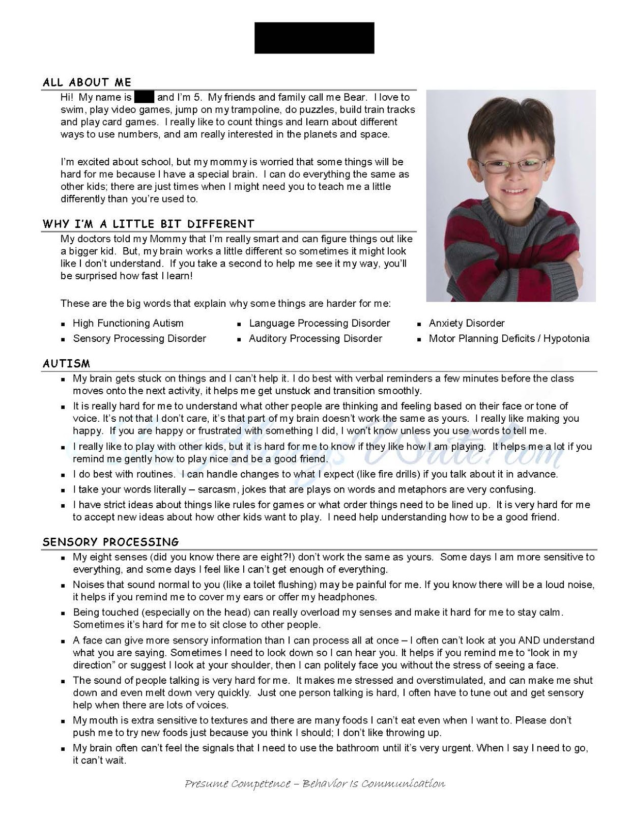 Autism Resume She 39s Always Write Getting To Know You Special Needs